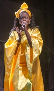 "Shereena ""Shea Shea"" Richardson of Anguilla performs at Festival City, Montserrat during the first round of the 2nd Euphony Vibes Regional Female Calypso Competition on Friday, December 22, 2012. (A Wayne Fenton Photo)"