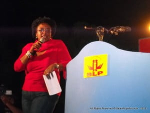 Mottley had the crowd eating from the palm of  her hand - when she cracked a joke how the Pine Walkover should not be named after Freundel but Hamilton Lashley, you could not hear yourself think for about 45 seconds of raucous cackling across the City!
