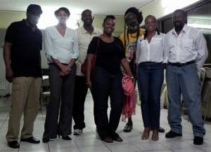 The 165th Anniversary Emancipation Committee, (L-R): Fabian A. Badejo, Xiomara Balentina, Shujah Reiph, Morenika Arrindell, Ras Bushman, Dr. Rhoda Arrindell, and Theophilus Thompson. (CLF Photo)
