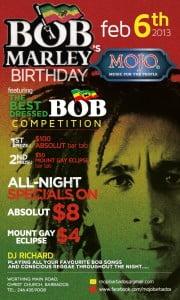 {CLICK FOR BIGGER} Come out and celebrate the King of Reggae's Birthday with Mojo's on February 6th!