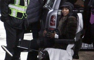 {IMAGE VIA - mirror.co.uk} British Model Naomi Campbell was hospitalized and is now in a wheelchair due to injuries sustained during a violent mugging in Paris, France!