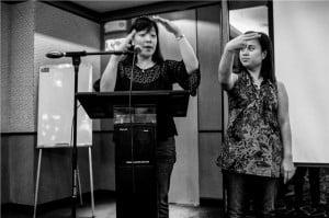 {IMAGE VIA: Yahoo News - Sign language (Photo by Mario Ignacio IV)} This comes as the National Disabilities Unit (NDU) hosts its Sign Language classes beginning Monday, January 14.