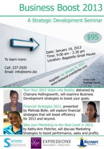 (CLICK FOR BIGGER) Should you be interested in this Seminar for yourself and your associates contact us by phone 237-2920 or email info@exmc.biz to learn more. Register and pay online for this seminar www.bizboost.eventbrite.com.