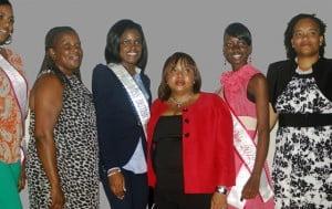 (L to R) Sylvanna Charles, Miss Caribbean Talented Teen; Sharon Leonard, Addiction Counselor; Sharie de Castro, Miss BVI 2012; Andrea Hamm, Manager; Shaemore Smith, Miss Teen Diva 2012; Miss Kishann Cupid-Braithwaite, Addiction Counselor