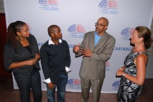 American academic and filmmaker Dr. Jonathan Gayles (second from right) in discussion with Animekon founders Melissa Young (left) and Omar Kennedy (second left) and U.S. Embassy Public Affairs Officer Rebecca Ross.