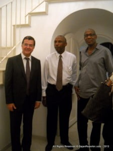 The High Commissioner of Canada to Barbados, Mr. Richard Hanley (seen here at his Royal Westmoreland Offical Residence greeting Henderson Holmes of BIBA & Dr Keith Nurse of UWI), will also be in attendance to speak at the launching of this new project.