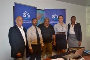 L-R: Peter Gunn (judge), Robert Brown (Special Projects, PJIAE), Robbie Cijntje (Toppix 2013), Chermaine Petit-Booi (judge), and Lisa Noel (St. Maarten Tourist Bureau). (SXM Airport photo)