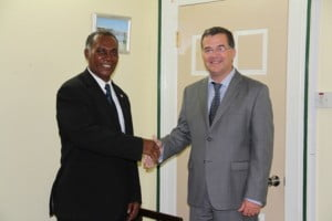 Canada's Ambassador to St. Kitts and Nevis His Excellency Mr. Richard Hanley visits with Premier of Nevis Vance Amory at Government Headquarters in Bath Hotel, Bath Plain during his visit to the Federation to present his credentials