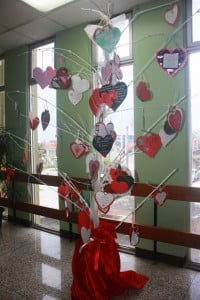 Tree of love decked with staff's poems