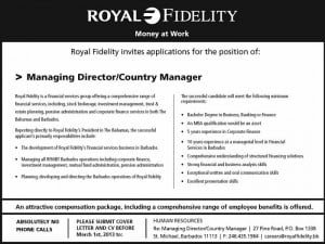 Royal Fidelity invites applicants for the position of Managing Director/Country Manager. (CLICK FOR BIGGER)