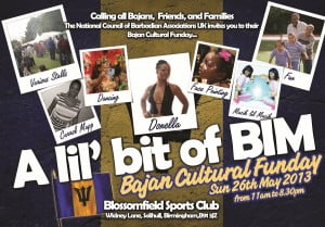 (CLICK FOR BIGGER) Concession Spaces for Food, Arts and Crafts, Business opportunities and Sponsors Coaches from all over England! Dancing all day in Ball Room Road Tennis, Rounders, Cricket, Face Painting, Bouncy Castles etc And starting at 5:00 pm the big musical finale with featured Bajan artistes