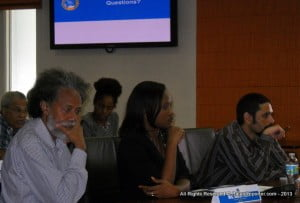 Tony Frasier is the Trinidadian journalist with the shock of hair and the bushy beard at extreme left.