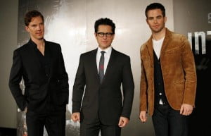 (L to R - Benedict Cumberbatch, JJ Abrahams & Chris Pine) After the crew of the Enterprise find an unstoppable force of terror from within their own organization, Captain Kirk leads a manhunt to a war-zone world to capture a one man weapon of mass destruction.