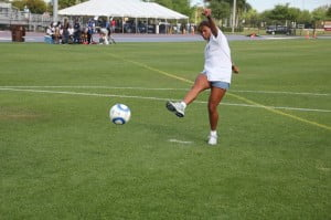 "Adrienne ""Addy"" Chin-Ogilve kicking for Convent of Mercy Academy ""Alpha"" Association in All Girls Alumni Penalty Kick-off"