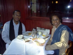 HNP president Jacqueline Sample (R) and HNP founder and projects director Lasana M. Sekou, at a publisher's breakfast meeting, New York City, 2007. (HNP file photo)