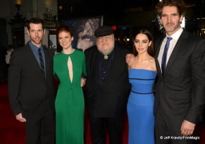"""D. B. Weiss, Rose Leslie, George R.R. Martin (in cap), Emilia Clarke, and David Benioff arrive to HBO's """"Game Of Thrones"""" Los Angeles Premiere at TCL Chinese Theatre on March 18, 2013 in Hollywood, California.  (Photo by Jeff Kravitz/FilmMagic)"""