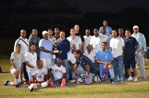 St. George's College Old Boys Association of Florida soccer team poses with the 2013 Ziadie Cup.