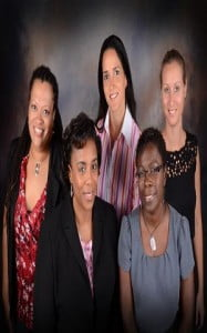 Left to right front row seated: President Donna-Maria Maynard, PhD.; Treasurer - Josette Sam, MSc. (Back row left to right) Vice President - Natalie Moore PhD.; Secretary - Frances Bello, MSc.; and, Membership Chair - Lauren Marshall, MA