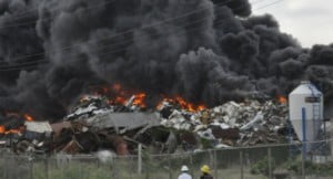 {IMAGE VIA - NationNews.com/Sharon Harding} The black smoke you're seeing is not a cane fire, it B's recycling in Cane Gardens in St.Thomas on fire, the fumes could be toxic and explosions are said to be going on, so if you're in the area be careful and if your down wind take precautions from the fumes - via Facebook