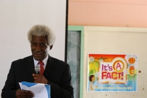U.S. Ambassador Larry Palmer speaking to students ahead of the screening of the It's A Fact! video.