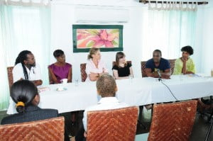 Will Gale Theatre ever seek to do an original All-Barbados Play? (L to R) - Peter Lewis, Director; Keisha Pope, Actress; Melissa Simmonds, Producer; Hanna Berrigan, Director; Richard Pepple, Actor and Amanda Cumberbatch, CEO Tiger Eye T.I.E.