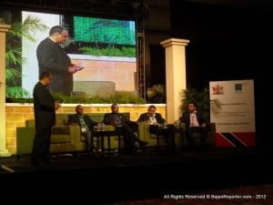 {Standing -  Port Of Spain, June 2012} President of the Association of Caribbean MediaWorkers (ACM), Wesley Gibbings