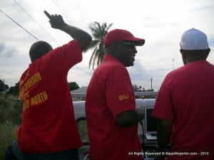 A lighter moment in the motorcade which visited among other places - Trents, Corbin Road, Ashton Hall, Apes Hill among others... The new MP travelled with his wife,  daughter and supporters which carried the latest calypso and dancehall tunes apart from a campaign jingle provided for Hinkson.