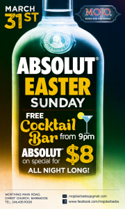 {CLICK FOR BIGGER} With no work on Monday, what better place to spend Easter Sunday night than with us at MOJO?! =)