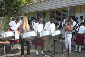 Students at the Montserrat Secondary School perform at the Commonwealth Day celebrations.