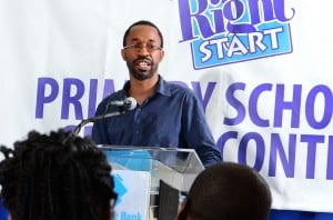 Antthony Alleyne, Sunjet Toastmasters addressing teachers at Republic Bank Righstart Speech Contest launch.