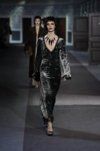 Similarly with the ready to wear: the strength of its appeal lies not in a graphic or logo but in the seduction of the surface treatments. The entire collection has a touch of une robe de chambre, an attitude of getting dressed up only to find the most glamorous destination is one's own hotel room.