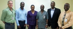 From left: Mark Sampson, President, SAB; David Jean-Marie, Chief Executive Officer, BPI; Mrs. Yvette Gibson, Senior Assistant, General Secretary, BWU; Mr. Emerson Alleyne, Executive Vice-President, SAB, and Member of Board of Directors, CMI; Mr. Osric Forrest, Director, School of Advanced Skills, CMI; and Mr. Eron McClean CMI