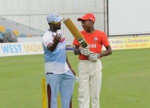 West Indies batsman, Narsingh Deonarine, imparting some knowledge.