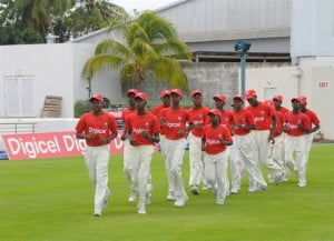 Historic jog! The members of the St. Leonard's Boys Secondary Under 13 and Under 15 teams taking their warm up job around the mecca, the Kensington Oval.
