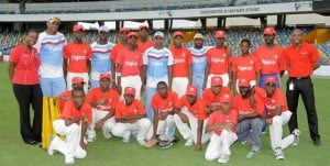 West Indies players, Shannon Gabriel (second from left), Kemar Roach (fourth from left), Shivnarine Chanderpaul (eighth from left) and Narsingh Deonarine (fifth from right) with the players and coaches of the St. Leonard's Boys Secondary School. Also with them are Digicel's Senior Marketing Executive, Krystle Smith (left) and Marketing Executive, Randy Howard (right)