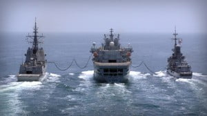 RFA WAVE KNIGHT is a 31,500 tonne Fleet Tanker which has the ability to refuel other naval vessels at sea from its three beam rigs and one stern rig as well as carrying dry stores.
