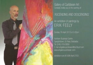 'Ascending and Descending' is a collection of dramatic, colourful interpretations of light into lines and form. Inspired by Dante's 'Divina Commedia', this artist will certainly create a stir in Barbados! This is a 'Must See' exhibition!