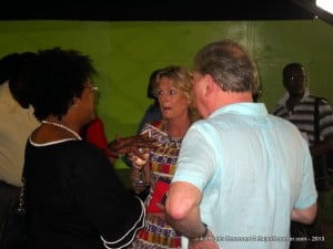 Arriving after the donation ceremony, and dressed in black which suggested a funeral was attended and thus the tardiness, Mottley chats with Andrew and his latest wife at the My Lord's Hill locale...