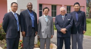 (From left) Mr. Niu Zhikang, Attaché; Mr. Glyne Clarke, General Manager (BOA); Chinese Ambassador to Barbados, H.E. Mr. Xu Hong; Mr. Steve Stoute, President (BOA) and Mr. Wu Gangchen, Economic and Commercial Counsellor
