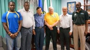 (From left) Kevin Wood, President of the BBA, Erskine Simmons, Secretary General of the BOA, Paisan Rangsikitpho, Deputy President of the BWF, Steve Stoute, President of the BOA, Justian Suhandinata, BWF Council Member and Mervyn Gordon, Secretary of the BBA.