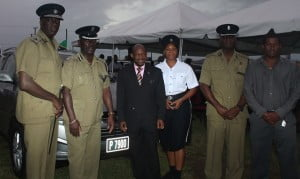 (left to right)  Commissioner Celvin G.Walwyn, Assistant Commissioner of Police Mireless Dolphin, Prime Minister Dr. Denzil Douglas, Woman Corporal Carlene Phipps, Superintendant Terrence James, Whitegate CEO Ellis Hazel