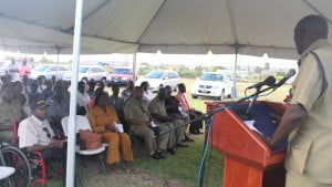 Commissioner Walwyn addresses audience at handover ceremony