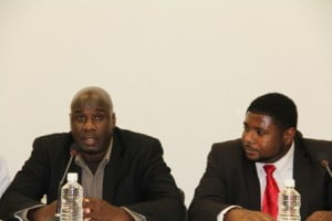 (L-R) Senior and Junior Ministers of the Environment and Physical Planning in the Nevis Island Administration; Alexis Jeffers and Uthant Troy Liburd