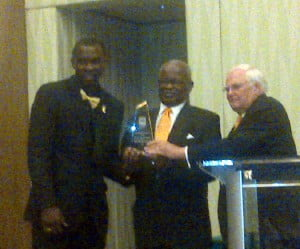 (from left) Ryan Brathwaite - Digicel's 4G Athlete of the Year, thank God Steve Stoute & the Gov. Gen. presented it instead of the BOA's General Secretary as God knows what blunders would abound then?