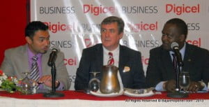 From Left - Blackberry's Josh Zelaya, CEO of Digicel Barbados, Barry O'Brien & Industry Minister Donville Inniss comparing notes before the Conference officially begins