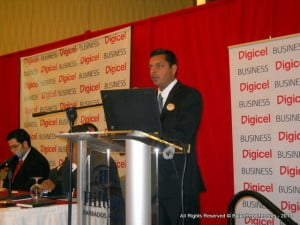 Ex-Microsoft Jaggs Dass delivering his presentation outlining his plans for Digicel's new ICT centre in Oistins