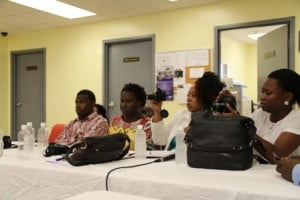 Local media practitioners on Nevis attending a press conference to announce the Nevis Island Administration's zero-tolerance campaign against illegal sand mining on Nevis at the Llewellyn Newton Disaster Management Facility at Long Point
