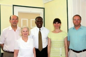 (L-R) Founder of the American Museum of Finance in New York Mr. John Herzog and his wife Maria, Premier of Nevis and Minister of Finance Hon. Vance Amory, President of the New England Chapter of the Alexander Hamilton Awareness Society and her husband Tom