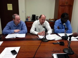 DFID Review Team ( left to right) Alan Clarkin, Tom Kelly, and Kato Kimbugwe.