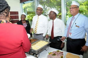 CIBC FirstCaribbean staff in Barbados were celebrated by their managers on Employee Appreciation Day recently. At the Rendezvous office employees were treated to breakfast served by (from left) Michelle Whitelaw, Barbados Retail Banking Director; Carl Lewis, Corporate Director, Credit Products;  Radcliffe Nurse, Head of Corporate;  and Mark St. Hill, Managing Director and Country Head.